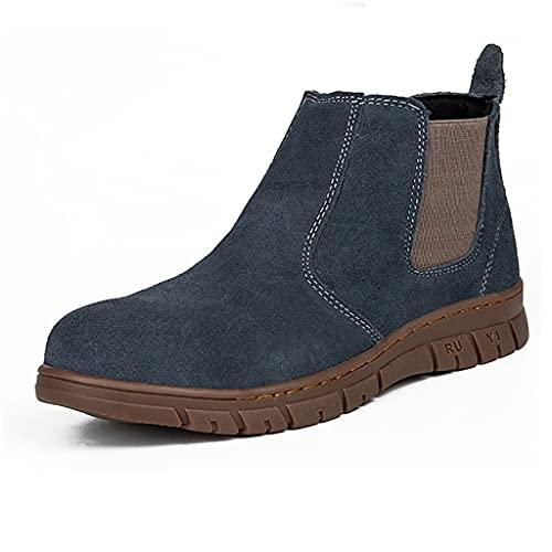 Zapatos de Trabajo 2021 Soldador de Cuero de Gamuza Azul Soldadura Botas de Seguridad, Toe Cap/Kevlar Zapatos de protección Industrial, livianos Transpirables al Aire Libre Senderismo Antidesl