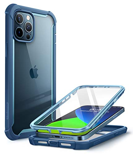 i-Blason Ares Case Cover for iPhone 12 Pro Max 6.7 inch (2020 Release), Dual Layer Rugged Clear Bumper Case Cover with Built-in Screen Protector(Cerulean)