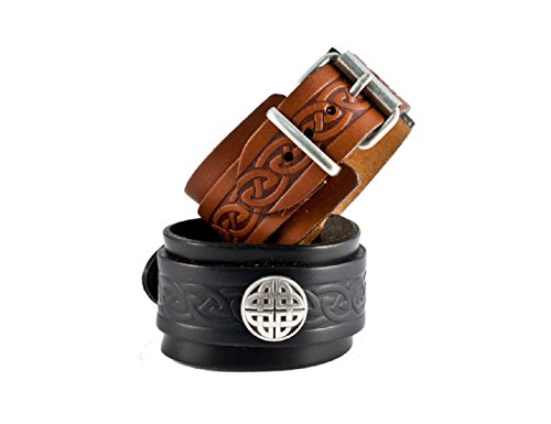 Biddy Murphy Jewelry Lee River Leather Men's Celtic Leather Bracelet Black Cuff & Buckle Irish Made
