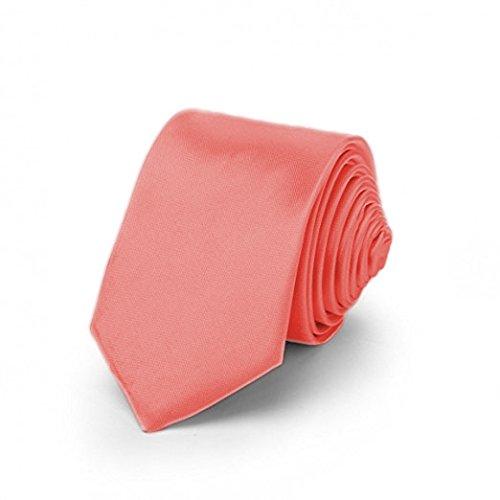 OM3™ TRENDY SKINNY TIE/Modische schmale dünne Krawatte in über 30 Farben Colors Party Business Schlips Handmade Smoking Anzug Unisex, Lachs, ca.140cm x 4,5cm