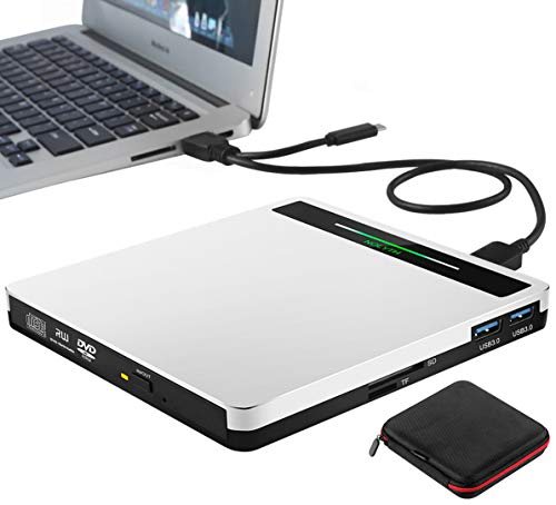 External DVD Drive Type-C USB 3.0 5 in 1 Slim CD DVD RW Player Burner, Portable CD Drive Reader Superdrive for Laptop Mac MacBook Air Pro Windows iMac Desktop PC