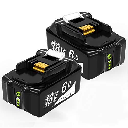 【Amazon 限定ブランド】bl1860b マキタ18vバッテリー 6.0ah BL1860 マキタ 18v 互換バッテリー 6000mAh大容量 リチウムイオン 互換 BL1860B、BL1850、BL1840、BL1830、BL1830B、BL1820B、BL1815、BL1815N リチウムイオン バッテリー マキタ 電動工具 掃除機 専用 残量表示 PSE認証済 2点セット