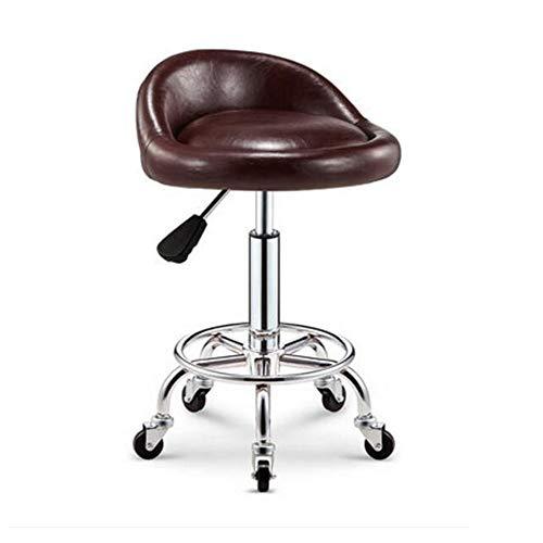 NAN liang Tabouret à roulettes pivotant - Tabouret de bar de salon spa ajustable avec support dorsal et roulettes Chaise pivotante à 360 degrés, disponible en 16 couleurs. (Couleur : H)