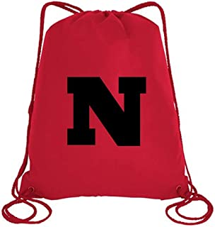 IMPRESS Drawstring Sports Backpack Red with Rockwell Letter N