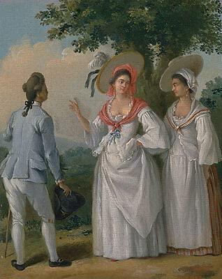 Kunstdruck Free West Indian Pendientes de aro en elegante vestido Agostino Brunias B A3 00271