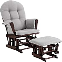 Windsor Glider and Ottoman - Espresso Finish and Gray Cushions