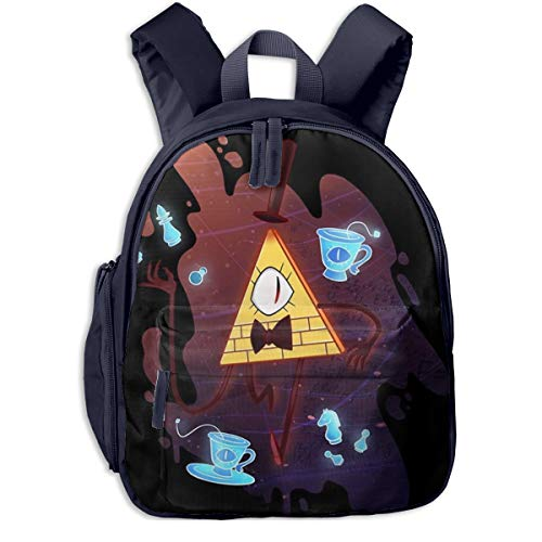 Lightweight Kid Backpack, Gravity Falls Bill Cipher Fan Art Student Book Bags for Boys Teen Primary School, Unique Handbags for Daily Flying