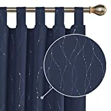 Deconovo Cortina Opaca para Habitación Matrimonio de Línas Plateadas Estilo Moderno Elegante con Trabillas 2 Piezas 140 x 175 cm Azul Marino