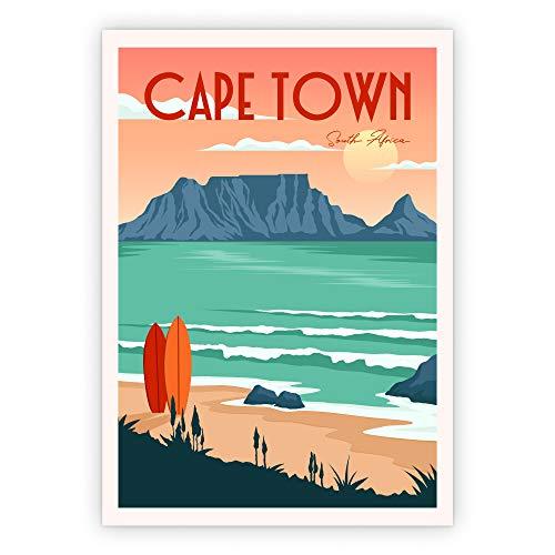 Lazy Days Poster Vintage Deko Kapstadt Süd Afrika Wanddekoration BIld (A3, Cape Town)