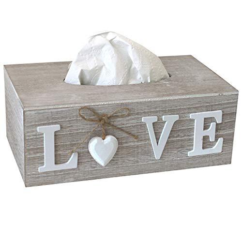 Boîte à mouchoirs 24,5 x 14 x 9,5 cm - En bois MDF - Love Box