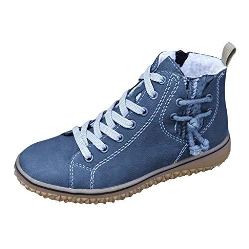 MOTOCO Damen Winterstiefel Übergröße Plus Samt Warm Schnüren Nackte Stiefel Keile Sneakers Stiefeletten Freizeitschuhe(Blau,37 EU)