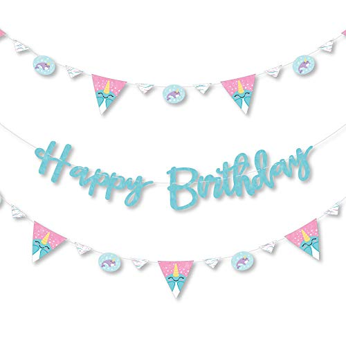 Big Dot of Happiness Narwhal Girl - Under The Sea Birthday Party Letter Banner Decoration - 36 Banner Cutouts and Happy Birthday Banner Letters