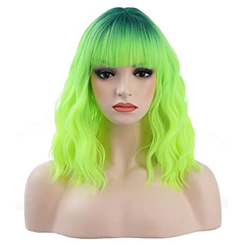 incohair Ombre Green Wigs for Women 12 Inches Short Wavy Neon Green Wig With Bangs Fluorescent Green Short Wigs for Cosplay Party Daily Wigs Wig Cap Included