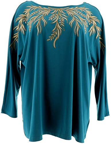 Bob Mackie 3/4 Dolman SLV Embroidered Knit Top Dark Teal M New A271128
