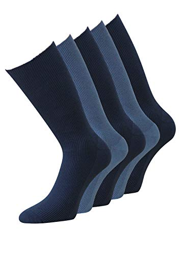 Herrensocken 43-46 Baumwolle ohne Gummibund gesundheits Socken ohne Gummidruck ohne Gummizug für Herren, 5 oder 10 Paar (43-46, 10 Paar blau gerippt)