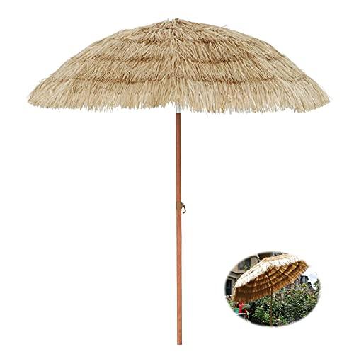 QLLL Sombrilla Parasol Sombrilla Exterior 200CM, Sombrilla de Paja con Protección UV con Diseño de Inclinación de 45 °, Sombrilla de Paja para Patio para Bar Tiki, Sombrilla de Playa