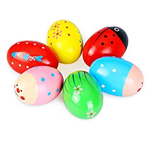 Unique Design: The Maracas Egg Shakers with 6 Interesting patterns and bright colors, looks cute and attractive, to meet kids preferences, bring much fun to children. It is super cute Easter basket stuffers. Safe Material: The Easter Eggs made of hig...