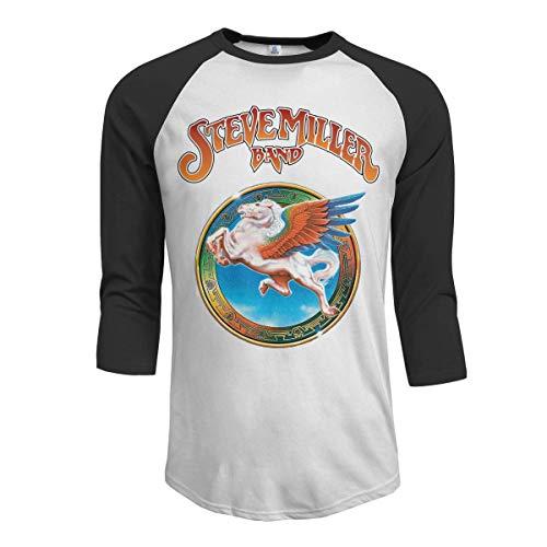 Pimkly Herren Tee T-Shirt, Men's Steve Miller Band 3/4 Sleeve Raglan Baseball T Shirts Black