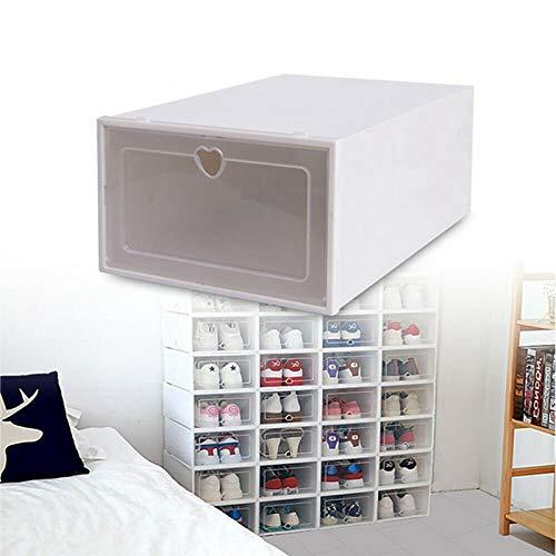 Cajas de Zapatos,Juego de cajas para zapatos,Caja transparente para zapatos,Cajas de Zapatos Plásticas,Paquete de 20 Organizadores de Almacenamiento,Plegables y Apilables,Transparente (33x23x14cm)