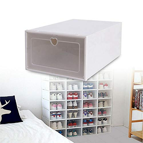 Fetcoi Juego de cajas para zapatos, caja transparente para zapatos, 20 cajas de zapatos transparentes, apilables, caja de plástico (33 x 23 x 14 cm)