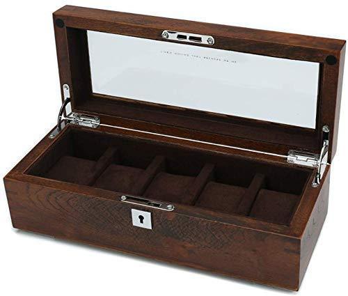 FANHUA ウォッチボックスジュエリーボックス木製5ウォッチスロットガラスカバーロック可能スーツケースまたは窓ディスプレイキャビネットジュエリーブレスレットストレージお気に入りブラウン/ 30x12x10cm