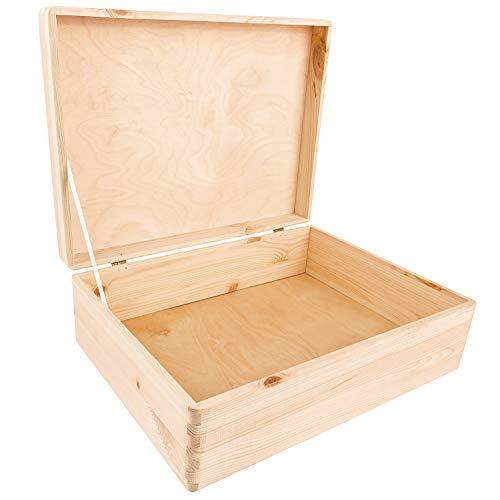 Creative Deco XL Große Holz-Kiste Holzbox mit Deckel Erinnerungsbox | 40 x 30 x 14 cm (+/- 1 cm) | GOLDSCHARNIERE & SICHERHEITSBAND | Ohne Griffen | Unlackiert Kasten | Für Spielzeug, Werkzeuge
