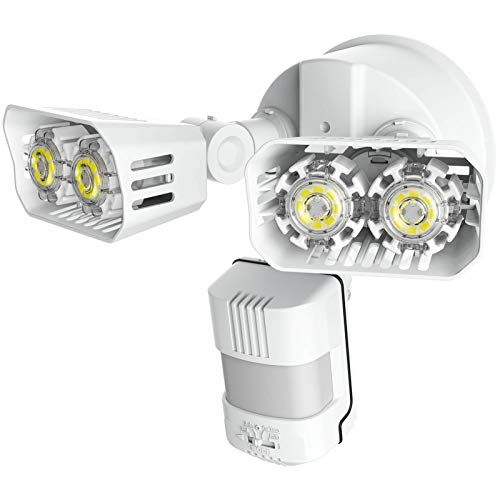 SANSI 18W LED Strahler mit Bewegungsmelder Außen, 1800lm LED Sicherheitslicht mit Bewegungsmelder, 5000K Tageslichtweiß Superhell LED Außenleuchte, IP65 Wasserdicht Flutlicht, Verstellbar Fluter, Weiß