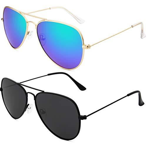 Livhò Sunglasses for Men Women Aviator Polarized Metal Mirror UV 400 Lens Protection (Black Grey+Blue Green)