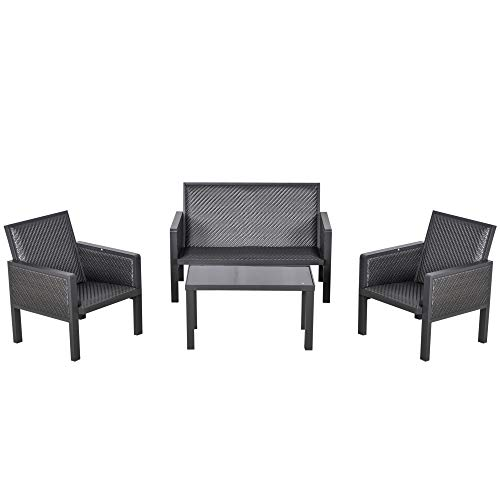 Outsunny 4 PCs Aluminum PE Rattan Wicker Sofa Set Outdoor Conservatory Furniture Lawn Patio Coffee Table, Deep Grey