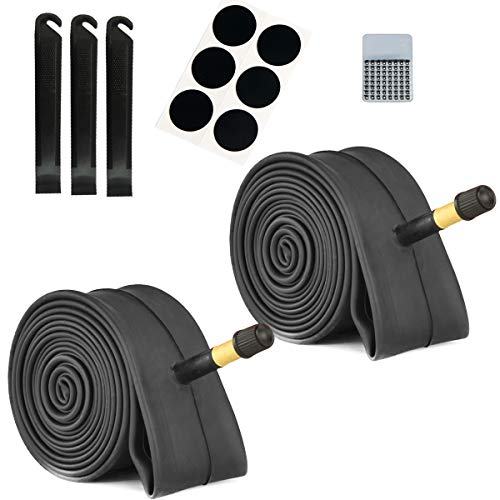 2 Pack Bike Tube with Bike Tube Repair Tool Kits, 3 Tire Levers,6 Self-Adhesive Round Patches, Bicycle Inner Tube Tyres Road MTB Bike Interior Tire Tube, Glueless Puncture Rep (22' x 1.75-2.125)