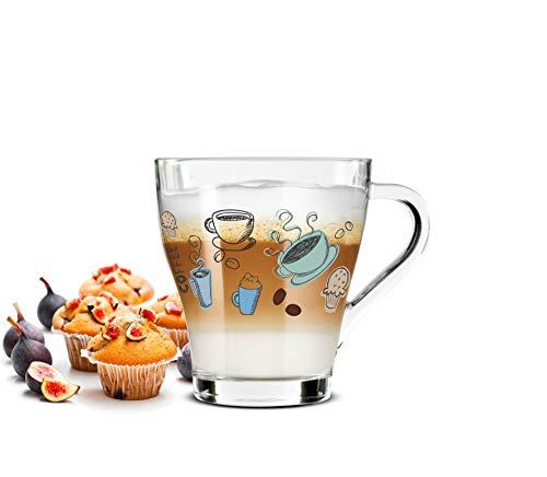 Sendez 6 Cappuccino Kaffeegläser Teegläser 270ml Henkel und 6 Edelstahl-Löffel GRATIS mit Buntem Kaffee-Aufdruck