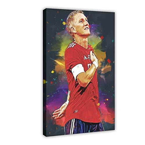 Bastian Schweinsteiger Poster Fußball Bild Leinwand Wandkunst Dekor Gemälde für Wohnzimmer Heimdekoration 40 × 60 cm Rahmen style1