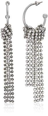 Steve Madden Women's Open Hoop Rhinestone Silver-Tone Chandelier Earrings