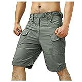 Men's Casual Capri Shorts Loose Fit Elastic Waist Knee Work Short Pants Tactical Cargo Shorts with Multi-Pockets
