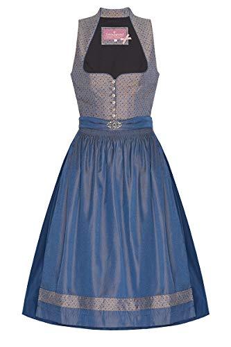 Lieblingsgwand Midi Dirndl 70er Taupe blau Gemustert blau Nadine 006894, Blumenmuster, eleganter Schalkragen und Herzausschnitt, mit silberner Brosche, Knöpfe in Altsilber 36