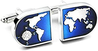 Bule World Map Shirts Cufflinks for Men