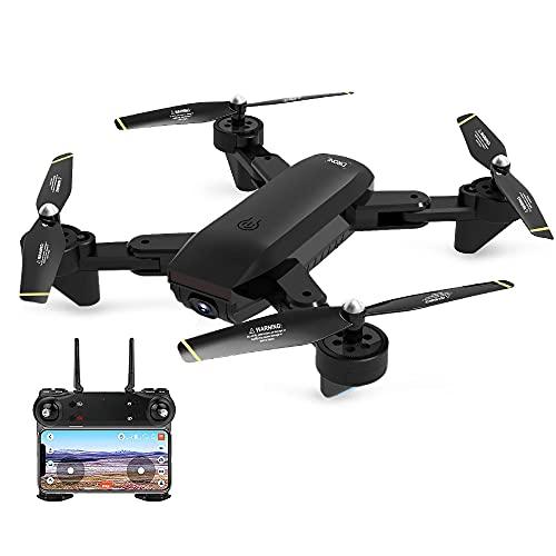 SG700-D Drone aereo UHD 4CH con fotocamera, Quadricottero video live WiFi, Drone RC pieghevole RTF, Ritorno di una chiave, 2 batterie (Nero 720P)