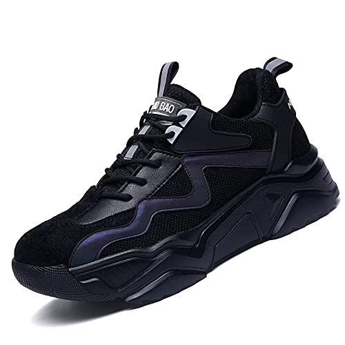 HOUJIA Veiligheidslaarzen voor vrouwen lichtgewicht stalen teen cap werkschoenen heren ademende sneakers dames sneakers zwart grijs maat unisex bouwschoenen, veiligheidsschoenen