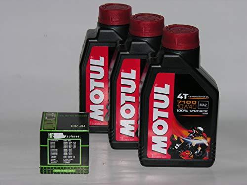 MOTUL 3LT litros de Aceite 710010W40+ Filtro de Aceite de 100% Sintético New mm. 4T (indique por Favor Modelo y año)