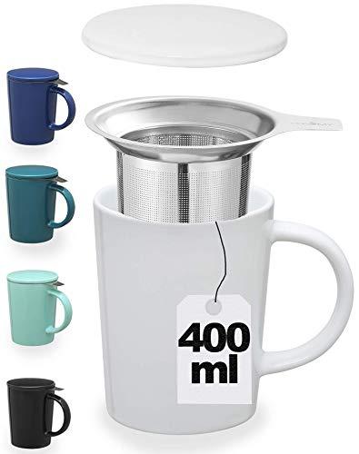 Taza de te con Filtro y Tapa - De Ceramica - Blanca - XL 400ml Grande - Con Asa - Mantiene la Tisana Caliente