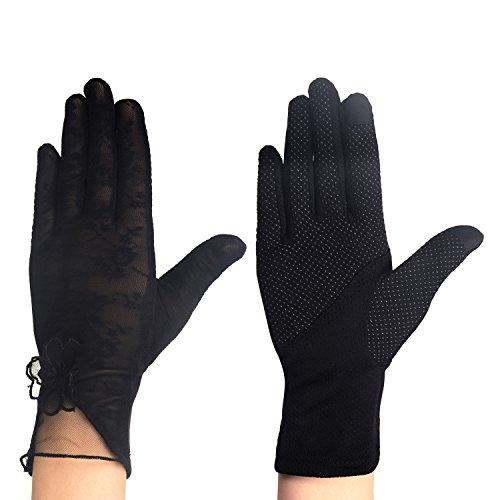 Eizur Damen Sonnenschutz Driving Handschuhe Touchscreen Fahrradhandschuhe Hochzeits Handschuhe Sommer UV-Schutz Lace Fäustlinge 4 Typen Optional