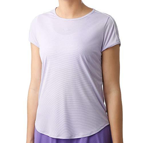 NIKE W Nkct Dry Top Camiseta, Mujer, Purple Agate/White/White/Purple Agate, XL