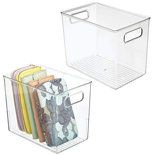 mDesign 2er-Set Aufbewahrungsbox mit Griffen – Kunststoffkiste zur Kleideraufbewahrung, für Schuhe etc. – auch als Box für Bastel- und Büroutensilien geeignet – durchsichtig