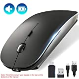 OKIMO Rechargeable Wireless Mouse, 2.4Ghz Silent Computer Office Portable Slim Optical Mouse with USB Receiver Type-C, 3-Level Adjustable DPI for Laptop, Computer, MacBook, Notebook, PC (Black)