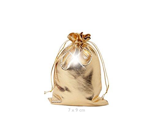 Geschenkbeutel 25 Stück Geschenksäckchen Gold 7 x 9 cm Adventskalender Säckchen Metallic Stoffbeutel zum Basteln und befüllen von Alsino