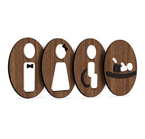 3DP Signs - Styled Knot, Set 4X- Targa Bagno Uomo Donna Disabili Fasciatoio - Segnali Bagno Adesivi Toilette Uomo Donna Disabile - Cartelli Bagno Uomo Donna Disabili - Adesivi WC Disabili (Tondo)