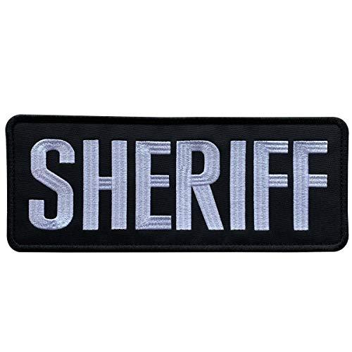 uuKen Großes Sticktuch Sheriff-Aufnäher für Militär, Polizei, taktische Weste, Jacke, Uniform, Trägerrückwand (schwarz und weiß, XL 25,4 x 10,2 cm)