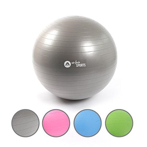 Apollo Gymnastikball 65cm, robuster Fitnessball und Sitzball Ink. Pumpe Rückenschonender Gymnastikball fürs Büro, Yoga, Pilates - Yoga-Ball fürs Workout - Farbe: Grau
