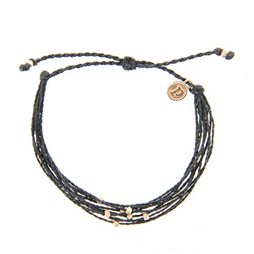 Pura Vida Rose Gold Malibu Black Bracelet - Waterproof, Artisan Handmade, Adjustable, Threaded, Fashion Jewelry for Girls/Women