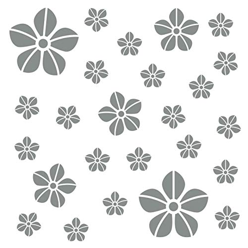 kleb-Drauf®   25 Blumen   Grau - matt   Wandtattoo Wandaufkleber Wandsticker Aufkleber Sticker   Wohnzimmer Schlafzimmer Kinderzimmer Küche Bad   Deko Wände Glas Fenster Tür Fliese